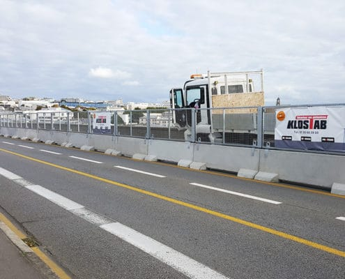 Barrière de sécurité KLOSTAB - Protection des agents vis à vis des voies de circulation à Brest (29)